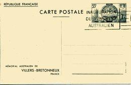 MEMORAIL AUSTRALIEN DE VILLERS BRETONNEUX Timbre Entente Cordiale Guerre 14 - Entiers Postaux