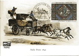 CAR EXPOSITION DES P.T.T. 1965 BOULOGNE SUR MER Malle Poste Voiture Chevaux Sur Carte Postale - Poststempel (Briefe)