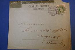 231 SUISSE LETTRE 1897 GENEVE POUR COGNAC AFRANCHISSEMENT PLAISANT - Brieven En Documenten