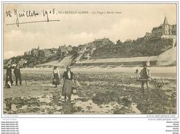 14 VILLERVILLE. Chercheurs De Crustacés Et D'Algues à Marée Basse 1905 - Villerville