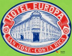 Voyo  HOTEL EUROPA San Jose Costa Rica  Hotel Label 1970s Vintage - Etiquettes D'hotels