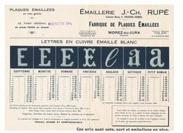 Publicité Emaillerie J.-C. Rupé Fabrique De Plaques Emaillées à Morez-Du-Jura - Advertising