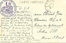 73-cachet Hôpital Comp. N°61 à St Jean De Maurienne Sur CP En 1918 - Marcophilie (Lettres)