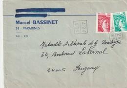 """Env. De """"Varaignes, 24 - Dordogne"""" Avec Cachet Du Poste Comptable De Varaignes Appliqué Par Erreur Sur YT 1972 Et 1967 ! - Poststempel (Briefe)"""