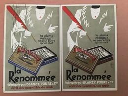Publicité La Renommée, La Plume Pour écrire Un Mot Pierrot X 2 ( Boite Bleue Et Marron - Publicité