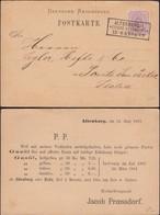 Germany - Jakob Prössdorf Postkarte, ALTENBURG 13.6.1883 - Ponte San Pietro, Italia. - Germany