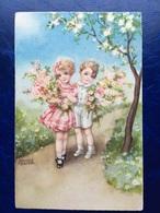 """Cpa--""""Enfants-promenade Cueillette De Fleurs""""-Hannes Petersen-(my Ref 366)-1939 - Petersen, Hannes"""