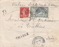 FRANCE 1908 LETTRE AVEC TIMBRE SEMEUSE ET MERSON AVEC TAMPON A DATE BALARUC LES BAINS TAMPON CHARGE - Storia Postale