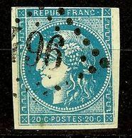 SUPERBE BORDEAUX N°45 Ca 20c Bleu Foncé Oblitéré Losange GC Cote 120 Euro - 1870 Bordeaux Printing
