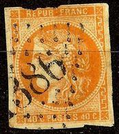 EXTRA BORDEAUX N°48a 40c Orange Vif Oblit Losange GC 1386 Cote 250€ PAS AMINCI - 1870 Bordeaux Printing
