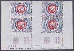 TAAF P.A. N° 109 XX Réunion Pour Traité Sur L'Antarctique  En Bloc De 4 Coin Daté  à 60 % De La Faciale, Ss Ch, TB - Unused Stamps