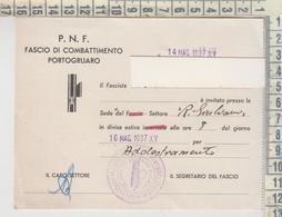 PORTOGRUARO VENEZIA P.N.F. FASCIO DI COMBATTIMENTO 1937 - Venezia (Venice)