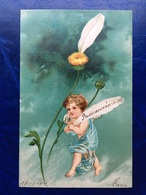 "Gaufrée-Embossed-""Ange-marguerite ""-(my Ref 373)-1904 - Anges"