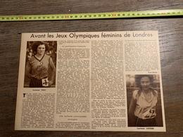 1934 M AVANT LES JO JEUX OLYMPIQUES FEMININS DE LONDRES LUCIENNE VELU LUCIENNE LAUDRE - Sammlungen