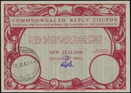 NOUVELLE ZELANDE Coupons Réponse N - Coupon Rouge, Surcharge à Main Violette 4d. S. 3d. (Wellington 12/1/62) - Nouvelle-Zélande
