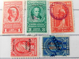 Total 5 X  US  $1, $2 , $3, $5 Dollars  Internal Revenue , Document Transfer Stamps All In Excelnt Condition   AST2-273 - Revenues