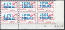 """1970-1980 / Bloc De 6 VIGNETTES Daté+millésime """" Code Postal-31270 CUGNAUX """" Avec Variétés!!!!! - Erinnofilie"""