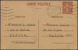 FRANCE Entiers Postaux O - Cp Brun Sur Chamois 1.20fr. Semeuse Lignée - Cote: 100 - Entiers Postaux