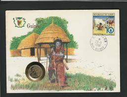 GUINÉE -  10 FRANCS 1985 / /  STAMP - COVER - COIN  / / GEOPHILA 1991 - Guinea