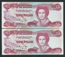 BAHAMAS 2 X 3 DOLLARES 1984  RUNNING NUMBER UNC - Bahamas