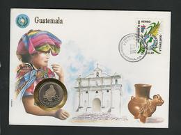 GUATEMALA 88 - 25 CENTAVOS   / /  STAMP - COVER - COIN  / / GEOPHILA 1990 - Guatemala