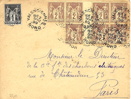 1899- DEVANT ( Front ) De Lettre De VALENCIENNES / NORD Affr. Sage N°85 X 7 Avec Ponts + 1 C  N°83 - Marcophilie (Lettres)