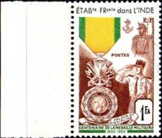 Inde Poste N** Yv:258 Mi:308 Centenaire De La Médaille Militaire Bord De Feuille - Nuovi