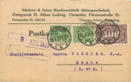 ALLEMAGNE -  POFTKARTE - CHEMNITZ  1923  - Sur  2 X 40 Et 100 Deutsches Reich -  SCHUBERT & SALZER - Duitsland