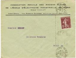 ENVELOPPE  A EN-TETE ANCIENS ELEVES ECOLE ELECTRICITE INDUSTRIELLE PARIS - 1921-1960: Periodo Moderno