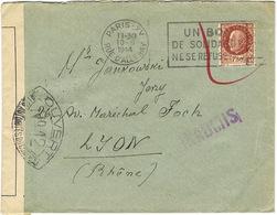 CENSURE N°12 SUR COURRIER PARIS A LYON AOUT 44 INADMIS - Marcophilie (Lettres)