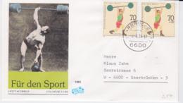 Germany FDC 1991 Für Den Sport - Weightlifting - Saarbrücken (G95-40) - Pesistica