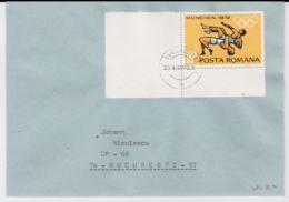 Romania Cover Franked W/1972 Olympic Games In München - Wrestling Posted Bucarest 1972 (G95-40) - Ete 1972: Munich