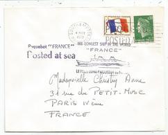 FM DRAPEAUX N°13 MIXTE 30C CHEFFER LETTRE SOUTHAMPTON PAQUEBOT 1970 FRANCE - Militärpostmarken