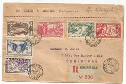 MADAGASCAR SERIE EXPO 1937 LETTRE REC ANDRIBA 1 AVRIL 1938 POUR CHERBOURG MANCHE - Madagascar (1889-1960)