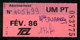 Ticket - Billet Ou Titre De Transport Bus - LYON - Abonnement Février 1986 - TCL - Autobus