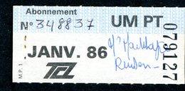 Ticket - Billet Ou Titre De Transport Bus - LYON - Abonnement Janvier 1986 - TCL - Autobus