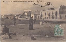 CARTOLINA  - MARSALA - PIAZZA MARINA CON VIA DEI MILLE - (TRAPANI) - VIAGGIATA 1912 - Marsala