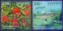 Used Armenia 2018, Flora & Fauna.Pomegranate (Punica Granatum) & Caucasian Scraper (Capoeta Capoeta Sevangi) 2V. - Arménie