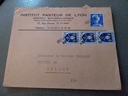 GRIFFE LINÉAIRE D ARRIVÉE BELLEY AIN SUR ENV INSTITUT PASTEUR LYON - 1921-1960: Periodo Moderno