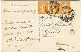 DAGUIN SOLO CHATEAUROUX GARE SUR CPA - Marcophilie (Lettres)