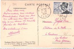 12 F. MARECHAL DE LATTRE DE TASSIGNY Sur Carte Postale Oblitéré ALBI - 1921-1960: Période Moderne