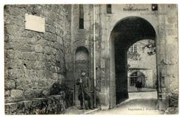 CPA   87     ROCHECHOUART        ENTREE DU CHATEAU     1915       GARDE A L ENTREE - Rochechouart