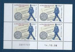 """Wallis Coins Datés YT 708 """" Ve République """" Neuf** Du 14.10.2008 - Nuovi"""