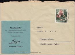 351 Karl Marx 48 Pf EF Auf Brief AUERBACH (VOGTLAND) 5.5.1954 Nach Tangermünde - DDR