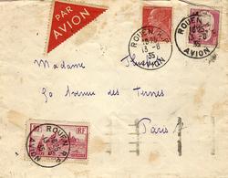 13-8-1935 - Vol AIR-BLEU    ROUEN -PARIS Affr. à 3 Frs -arrivée Paris Au Dos - Marcophilie (Lettres)