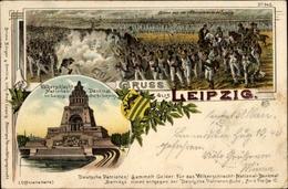 Lithographie Leipzig In Sachsen, Völkerschlacht National-Denkmal, Wappen, Bruno Bürger 645 - Unclassified