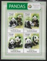 TOGO  Feuillet  N° 3268/71   * *  ( Cote 18e )   Ours Panda - Beren