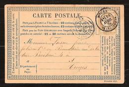 France YT 55 Précurseur CP Série Décembre 1875 Posté à Rouen Pour Troyes Cachets Type 18 Bonneterie Lasne - 1871-1875 Cérès