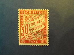"1859-55 - TAXES - Type Duval,  Oblitéré  N° 33 ""   30c Rose ""     Net  0.50    Photo    1 - Portomarken"