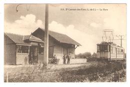 CPA 41 Saint Laurent Des Eaux - La Gare - Chemin De Fer,Train, Locomotive Electrique - Animation - Peu Courante - France